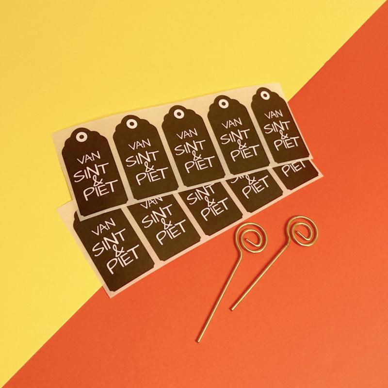 Sinterklaas sticker - label zwart