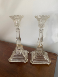 Antiek glazen kandelaars set