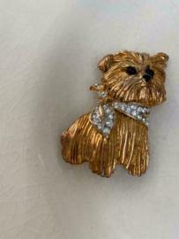 Vintage broche Carven Paris van hond in goudkleurig metaal