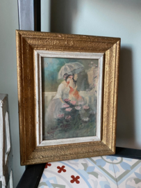 Antiek Franse aquarel gesigneerd