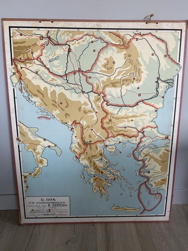 Antieke schoolplaat Balkan schiereiland