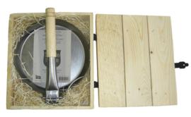 Stabilotherm steelpan met inklapbare houten steel in kistje
