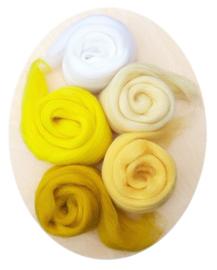 Merino lontwol kleursetje 1 wit/geel