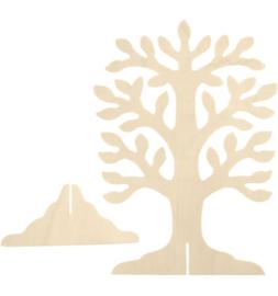 Houten boom met voet 30x21,5cm.