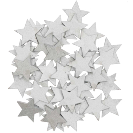 Houten sterretjes zilver 48st
