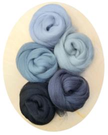 Merino lontwol kleursetje 10 zwart/grijs