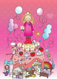 Kaart 'Jarig meisje roze'