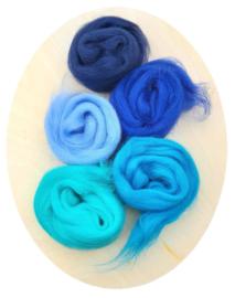 Merino lontwol kleursetje 5 blauw