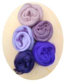 Merino lontwol kleursetje 4 roze/paars