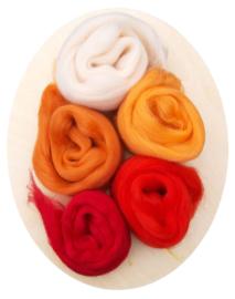 Merino lontwol kleursetje 2 oranje/rood
