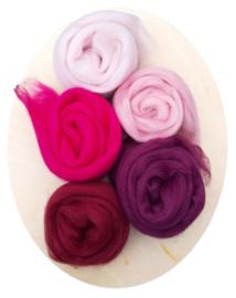 Merino lontwol kleursetje 3 donkerrood/roze