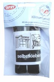 Klittenband zelfklevend zwart 60cm