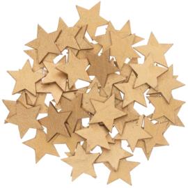 Houten sterretjes goud 48st