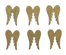 Houten vleugeltjes goud 6st 27mm