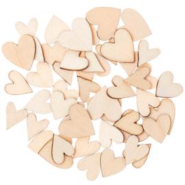 Houten hartjesmix 48 stuks
