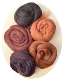 Merino lontwol kleursetje 8 donkerbruin