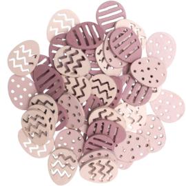 Houten eitjes roze 48st