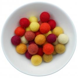 balletjes 2cm geel/oranje/roodtinten 20 stuks