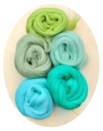 Merino lontwol kleursetje 6 groen/turqouise