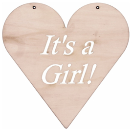Houten hart It`s a girl
