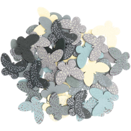 Houten vlindermix 48 stuks groen/blauw