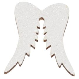 Houten vleugels glitter 3st 5cm