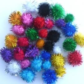 Pompons assorti glitter 1,5-2 cm.