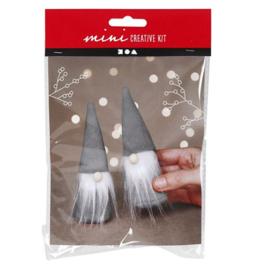 Mini creative kit 2 Scandinavische kerstkabouters grijs