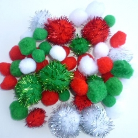pompon mix rood/wit/groen 2-3,5cm.