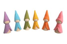 Zes regenboogkabouters pastel