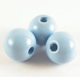Houten kralen lichtblauw 10mm 20 stuks