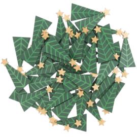 Houten kerstboompjes 48 stuks
