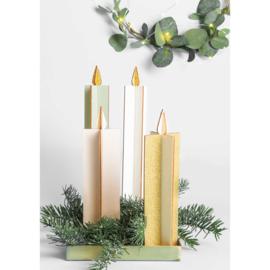 Set van 2 houten kaarsen