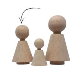 Kegelpoppetje `little sis` 48x27mm 50 stuks