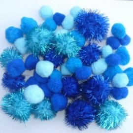 Pompon mix blauw 2-3,5cm