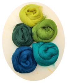 Merino lontwol kleursetje 7 groen