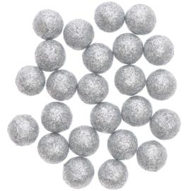 Glitterballetjes zilver 24st