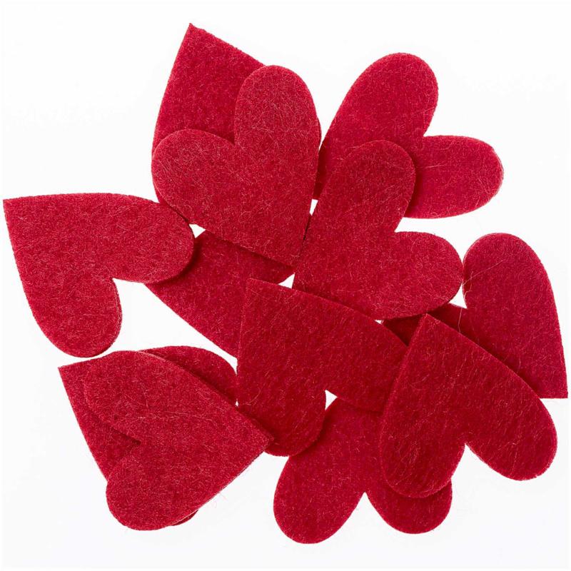 Vilten hartjes rood 12st