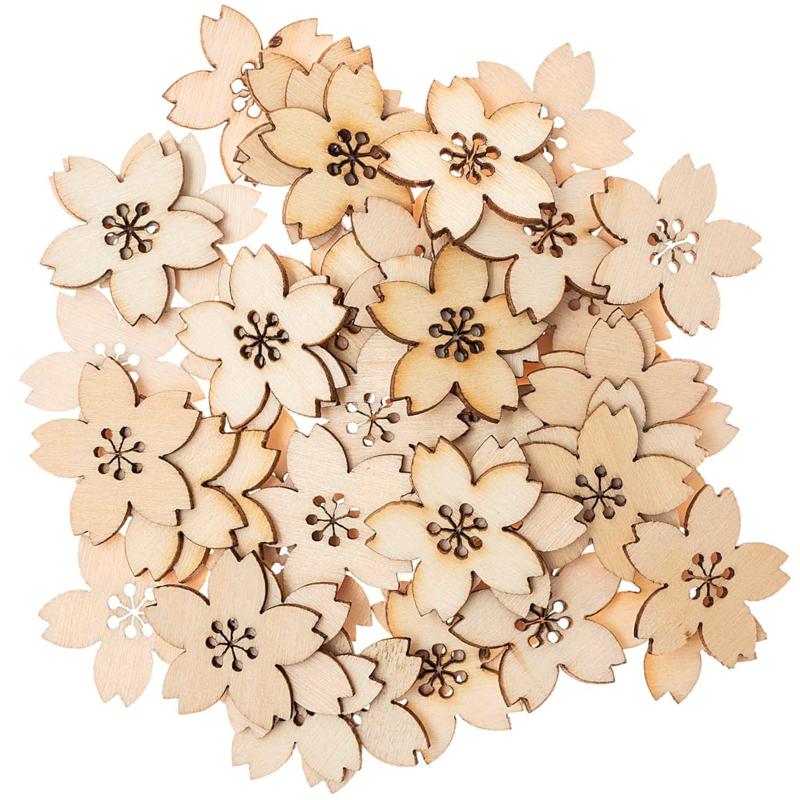 Houten bloemetjes klein 48st
