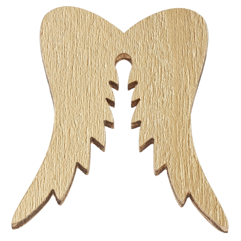 Houten vleugels goud 3st 5cm