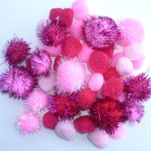 Pompon mix roze 2-3,5cm