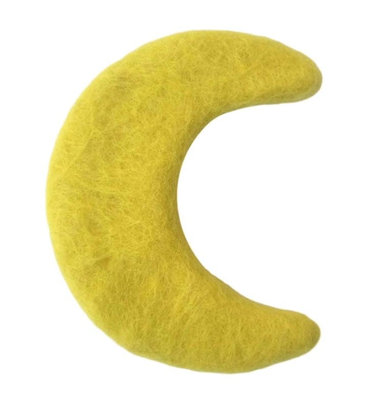 Handgevilten maan geel