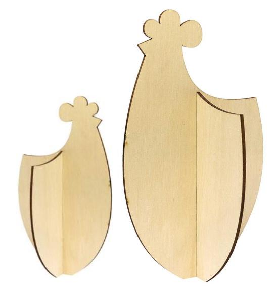 2 houten kippen