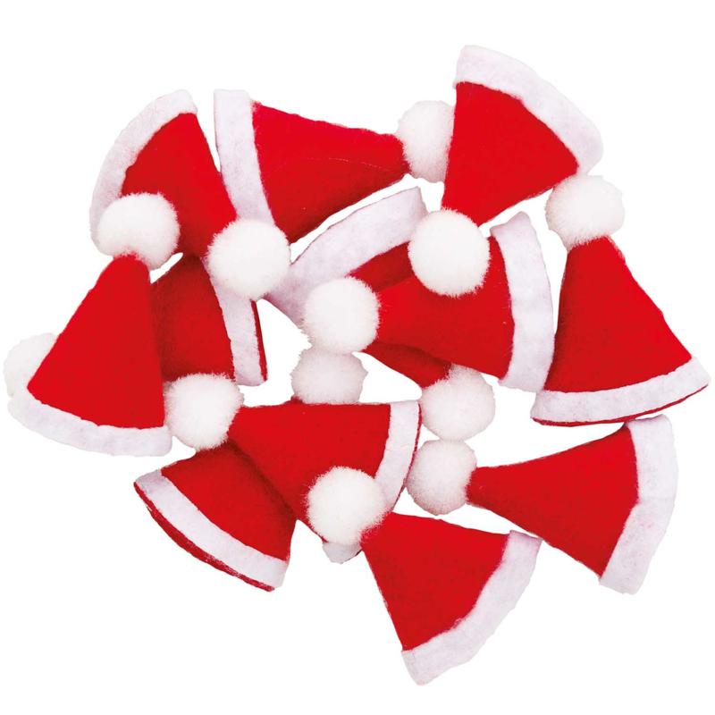 Mini kerstmutsjes 12 stuks