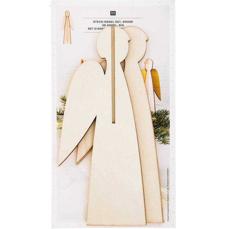 Set van 2 houten engelen