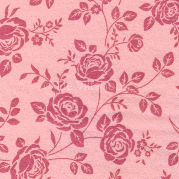 Vilt met rozenprint roze