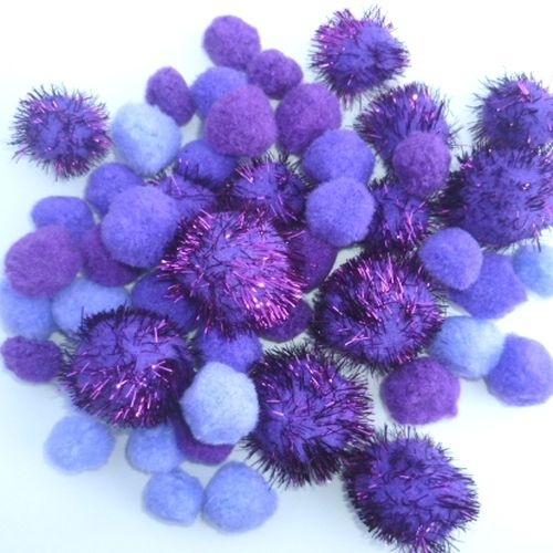 Pompon mix paars 2-3,5cm