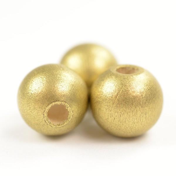 Houten kralen goud 10mm 10 stuks