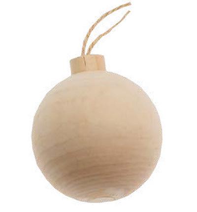 Houten kerstbal 5cm