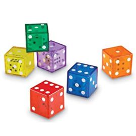 Dobbelsteen in dobbelsteen (transparant) 5 stuks Dice in dice